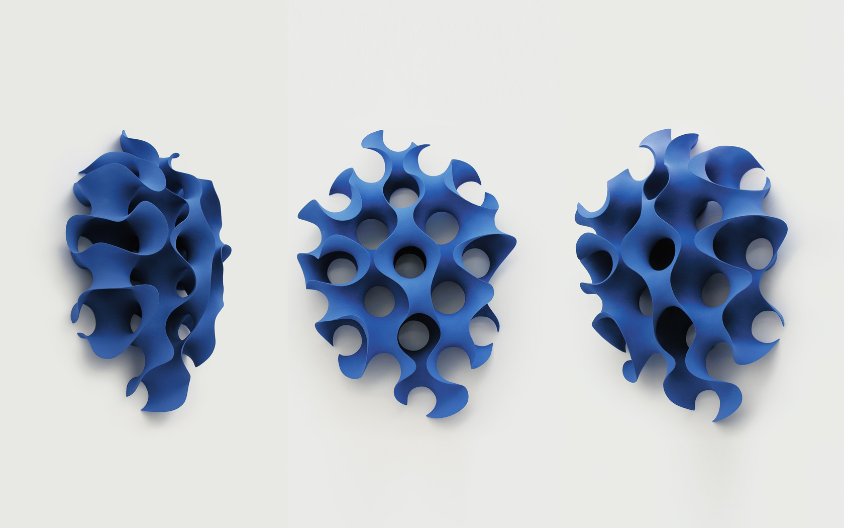 Blue Form, wall mounted ceramics; 90x70x40 cm